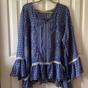 Blue and White Sheer Long Sleeve Plus Size Top